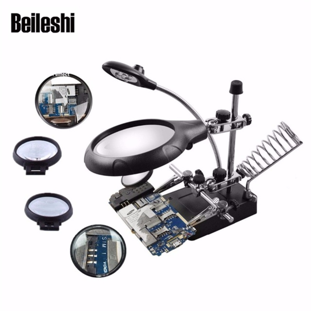 цена на Beileshi 2.5X 7.5X 10X LED Light Magnifier Helping Hand Repair Clamp Alligator Auxiliary Clip Stand Desktop Magnifying Glasses