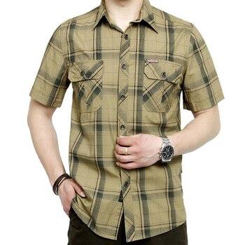 AFS JEEP Brand Clothing 2017 Shirt Men Plus Size 5XL Camisa Masculina Men Shirt Plaid Turn-down Collar Cotton Casual Shirts Рубашка