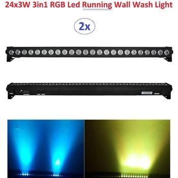 цена на 2xLot DHL Free Shipping 2019 Led Wall Washer Light 24X3W RGB 3in1 LED Line Bar Beam Wash Strobe Lights With Running Horse Effect