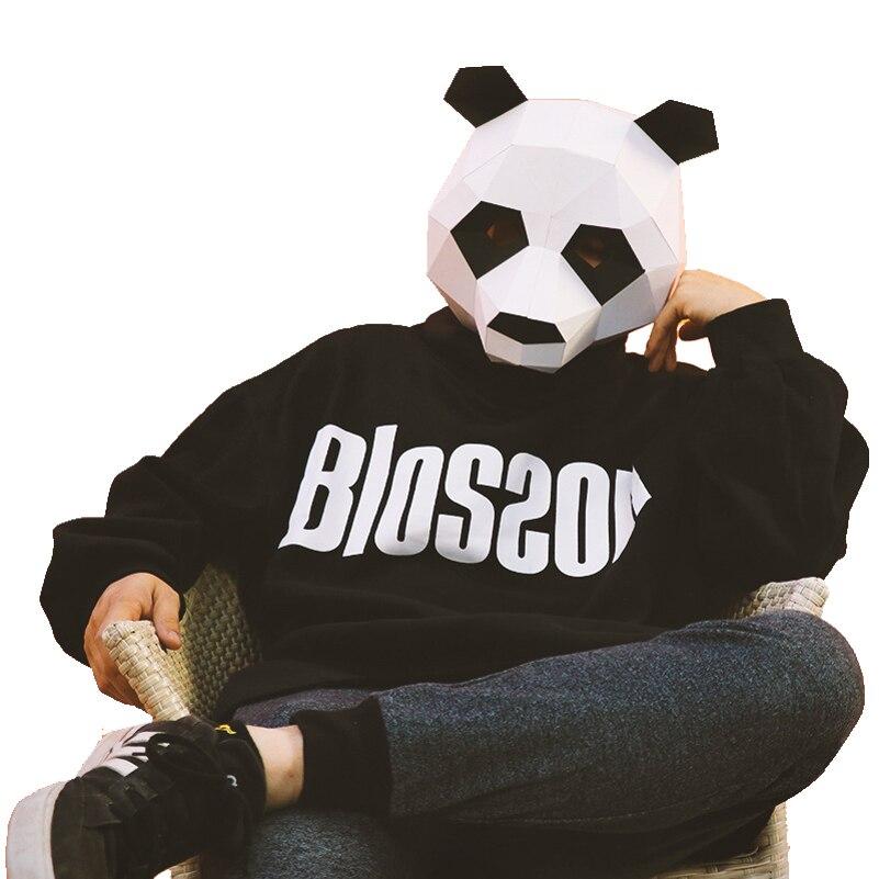 Diy Máscara De Animais Panda Traje Cosplay Adulto Crianças Papelão