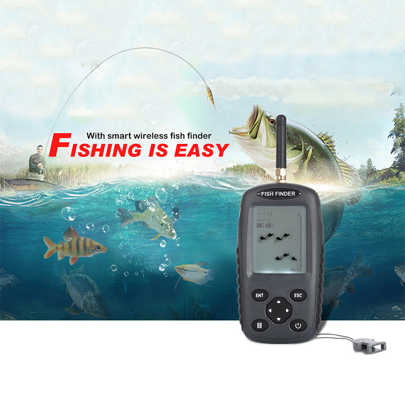 Binrrio FF998 Wireless Fish Finder 40M Depth 125KHz Sonar Sensor Echo Sounder Fish Alarm Fishing Finder with LED Backlight portable fish finder bluetooth wireless echo sounder underwater bluetooth sea lake smart hd sonar sensor depth