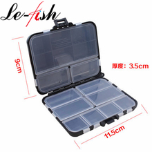 ФОТО le-fish hard plastic fishing lure box 11.5*9*3.5cm fly fishing lure spoon hook bait tackle case box fishing accessories tools