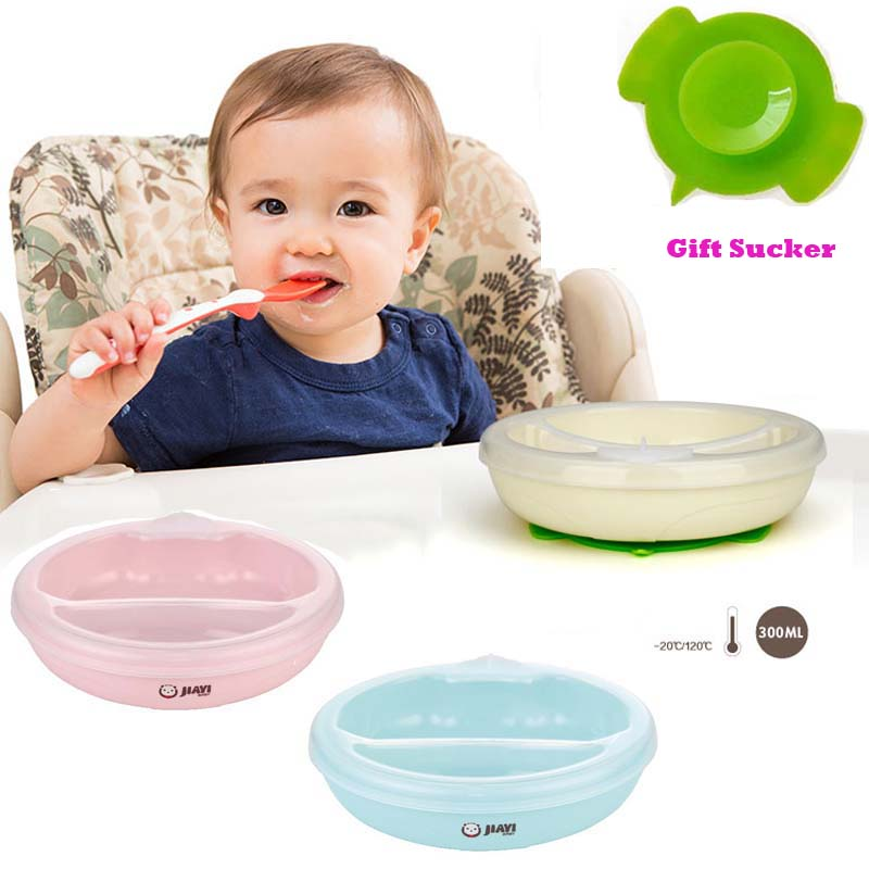 Baby Kids Dinner Set Spill-Proof Sucker Non Skid Bowl Dishes Spoon+Cover Kits
