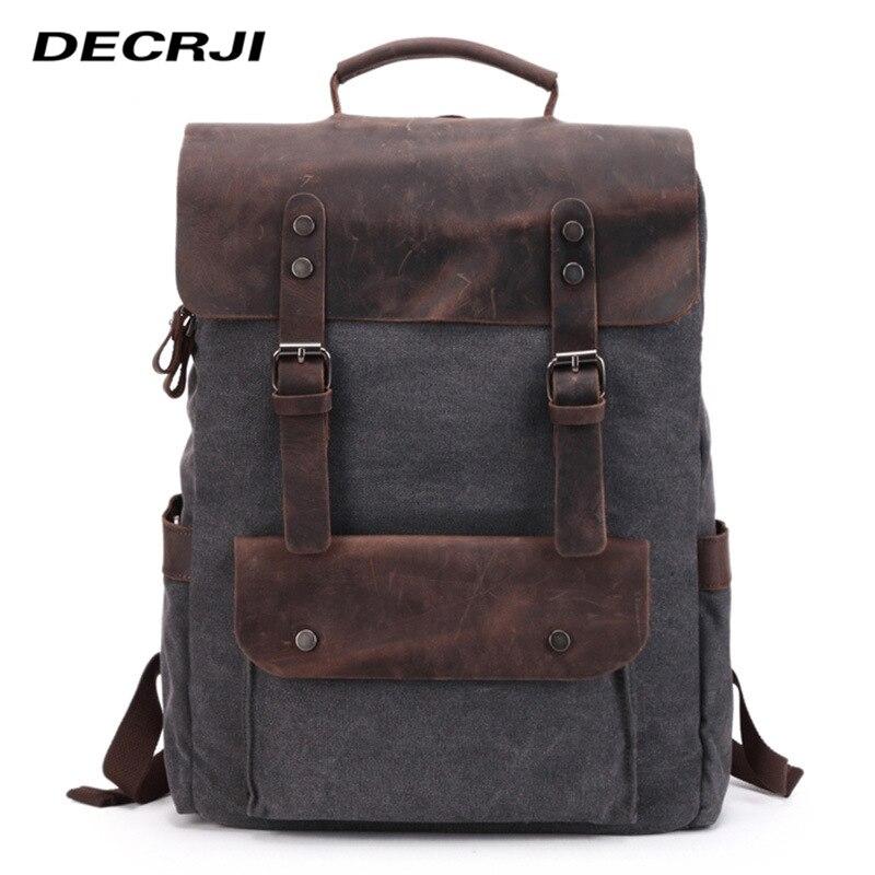 DECRJI Luxury Designer Men Bag Backpack Crazy Horse Leather Laptop Men s Backpacks Male Canvas Mochila