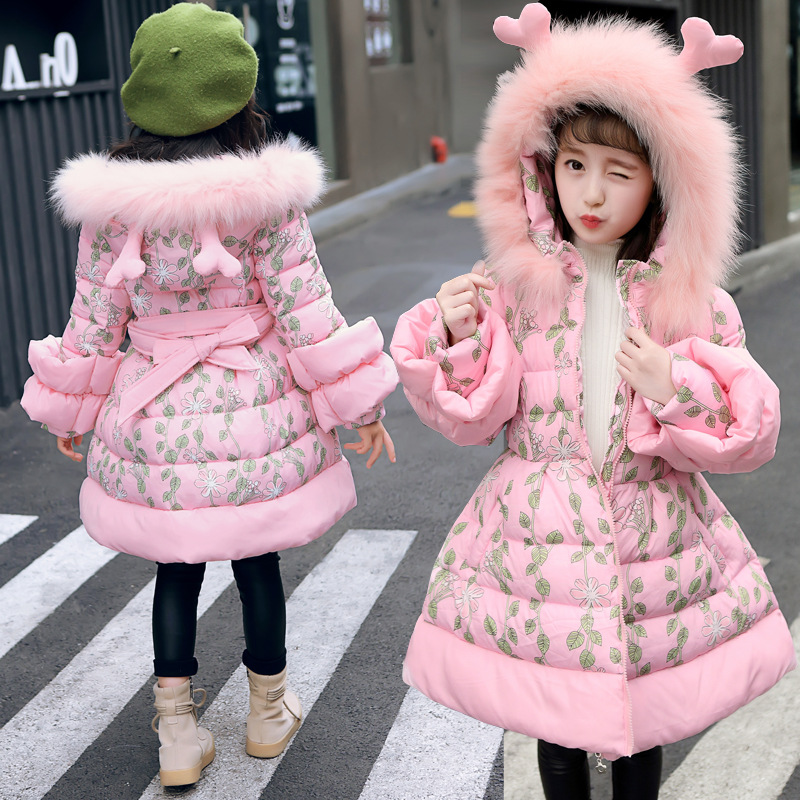 2019 Girls Winter Coat Long Cute Hooded Warm Cotton Coats Children Slim Printing Jackets Kids Big Fur Collar Windproof Jacket2019 Girls Winter Coat Long Cute Hooded Warm Cotton Coats Children Slim Printing Jackets Kids Big Fur Collar Windproof Jacket
