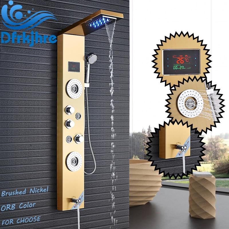 все цены на Bathroom LED Waterfall Faucet Mixer Valve Shower Set with Rainfall Hand Shower Panel Shower Time Temperature Display SPA Jets онлайн