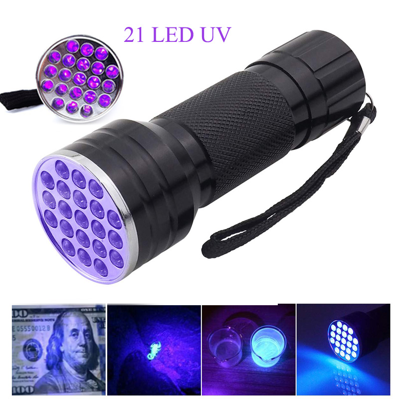 21 LED UV Flashlight 395nm UV Ultra Violet Torch Lamp AAA Battery Powered Portable Black Lights Detector For Dog Urine Pet Stain
