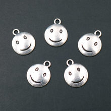 WKOUD 10pcs Smiley Face Charm Pendant, Smiley Face Bracelet, Smiley Face Necklace, Smiley Face Earring, Tiny Charm, Smile A813(China)