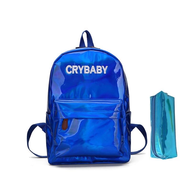 f8eb92f4b8 Dropwow 2018 New women hologram backpack laser daypacks girl school ...