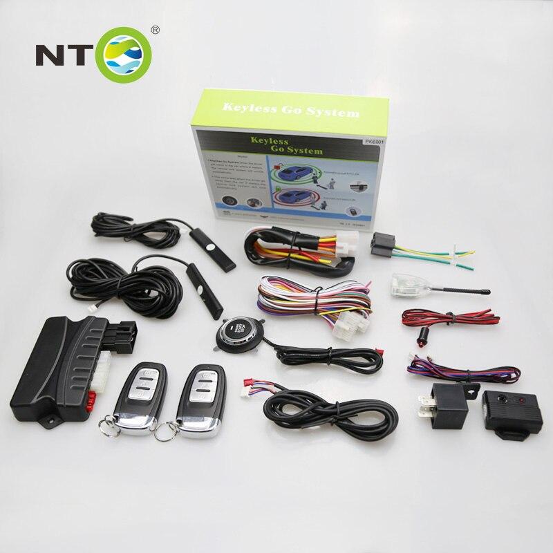 Système de sécurité d'alarme de véhicule de PKE d'alarme de voiture de GSM avec 2 télécommande et bouton d'arrêt de démarrage/poussée