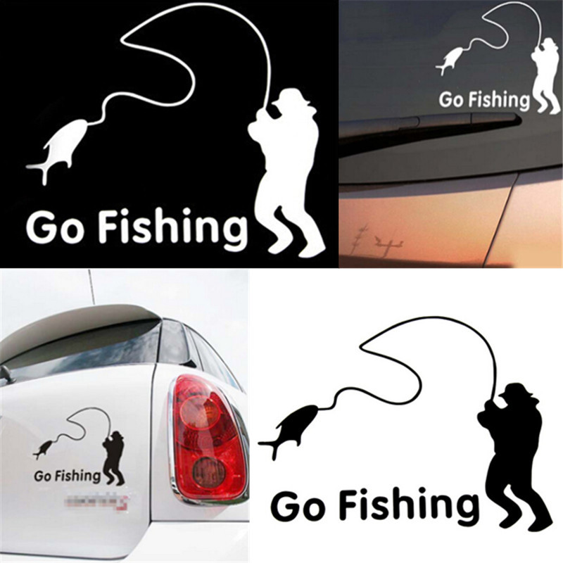 1Pc Top Selling Go Fishing Car Sticker Reflective Tape Waterproof Car Stickers And Decals For Rear Windshield