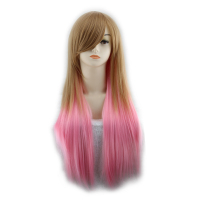 QQXCAIW Long Straight Cosplay Women Costume Party Mixed Red Black Pink Brown Green Ombre 68 Cm