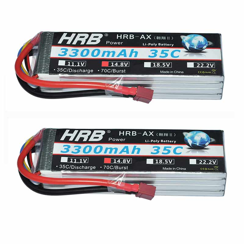 2pcs HRB RC <font><b>Lipo</b></font> <font><b>4s</b></font> Battery 14.8V <font><b>3300MAh</b></font> 35C 70C For Quadcopter RC Car Airplane 70mm EDF FPV Planes Wings Helicopter image