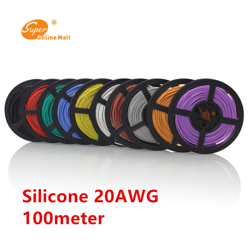 <font><b>100M</b></font> / batch 328 ft 24 AWG flexible silicone wire RC cable cable <font><b>24AWG</b></font> 40 / 0.08TS outer diameter 1.2mm, available in 10 colors image