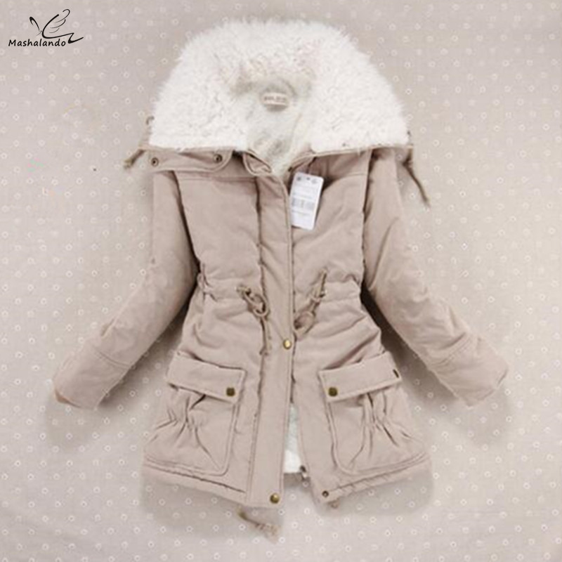 New 2019 Winter Coat Women Slim Plus Size Outwear Medium-Long Wadded Jacket Thick Hooded Cotton Wadded Warm Cotton   Parkas