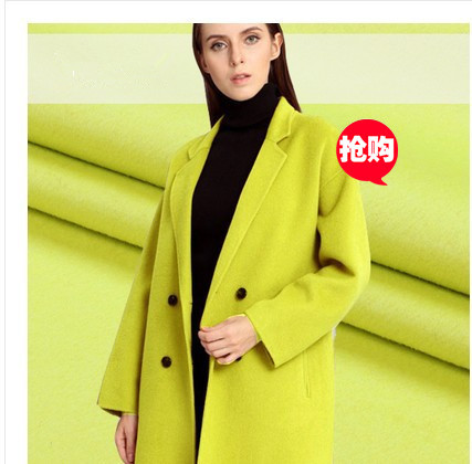 Yellow Green Double Cashmere Swiss Order Wool Fabric Thicker Coat Cashmere Wool  Fabric wholesale cashmere cloth f97174e9432f