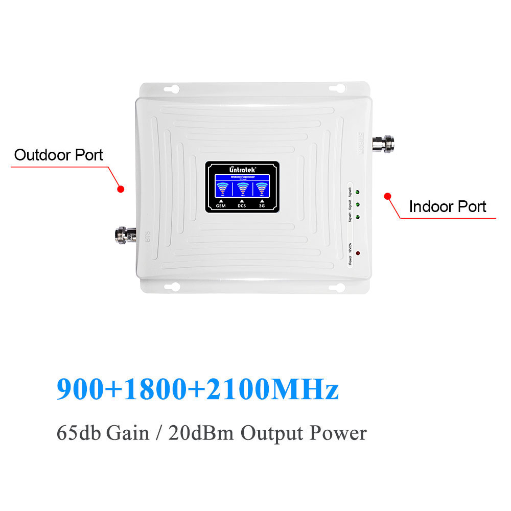 Image 3 - Lintratek LCD Tri Band Signal Booster 2G 3G GSM 900MHz UMTS 2100MHz 4G LTE 1800MHz Mobile Cell Phone Signal Amplifier Repeater@-in Signal Boosters from Cellphones & Telecommunications