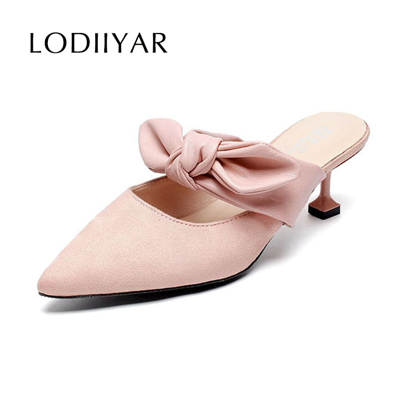 172795dbe8b Lady Shoes Summer Sandals Pointed Toe High Heels Fashionable Bow Knot Black  Pink Casual Comfortable Party Women Shoes Plus Size
