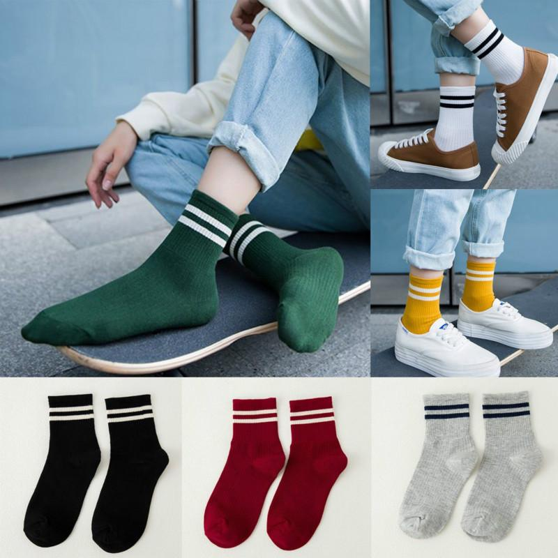 Comfortable Socks Unisex Striped Breathable Skateboard Socks School Students Females Men
