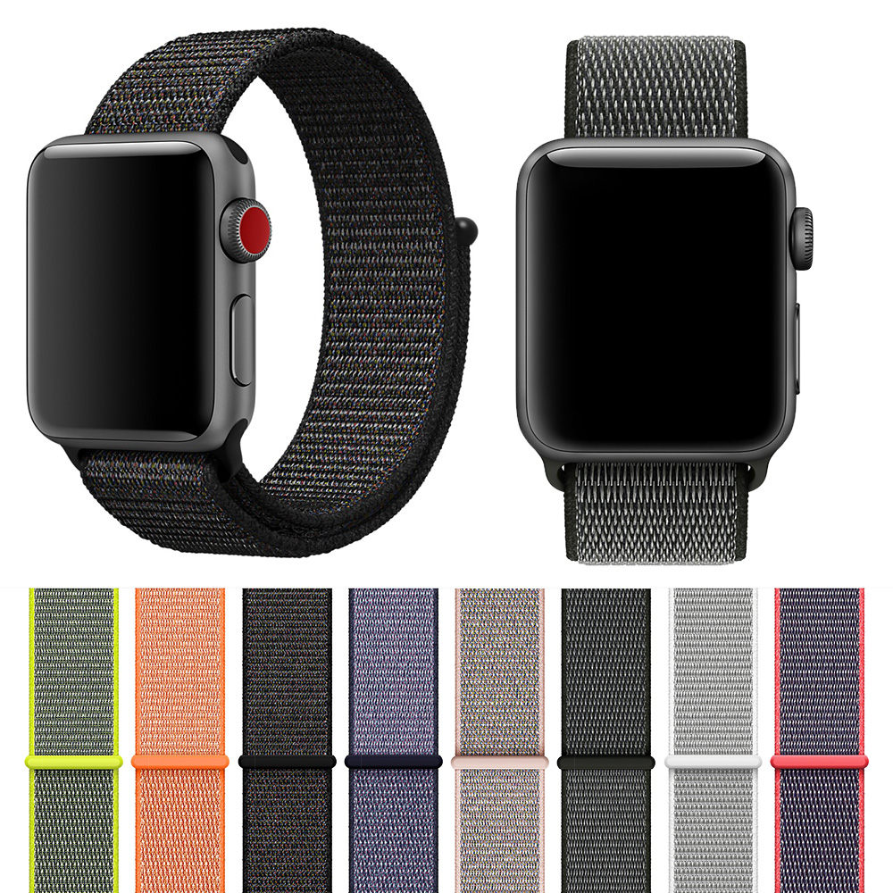 Latest Upgrade Woven Nylon Watchband Straps For IWatch Apple Watch 44mm Sport Loop Bracelet & Fabric Band 38mm 42mm Series 1 2 3
