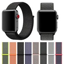 Купить с кэшбэком latest upgrade Woven Nylon Watchband straps for iWatch Apple Watch 44mm sport loop bracelet & fabric band 38mm 42mm series 1 2 3