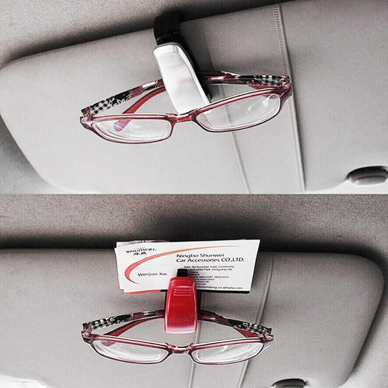 Universal Car samochodowa osłona przeciwsłoneczna pudełko na okulary okulary przeciwsłoneczne klip karty uchwyt na bilety zapięcie piórnik akcesoria do okularów