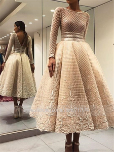 Image 2 - Scoop Long Sleeve Tea Length Lace Puffy Prom Dresses Champagne Lace See Through Evening Dress with Applique Lace