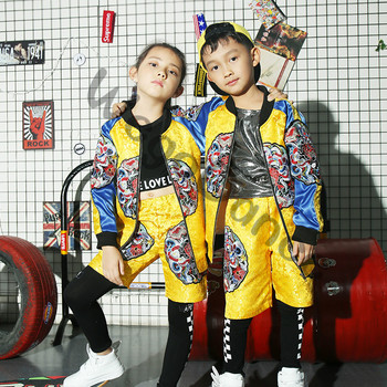Children's hiphop jazz dance girl and boy Chinese style Dragon Robe performance costumes 100-160cm height
