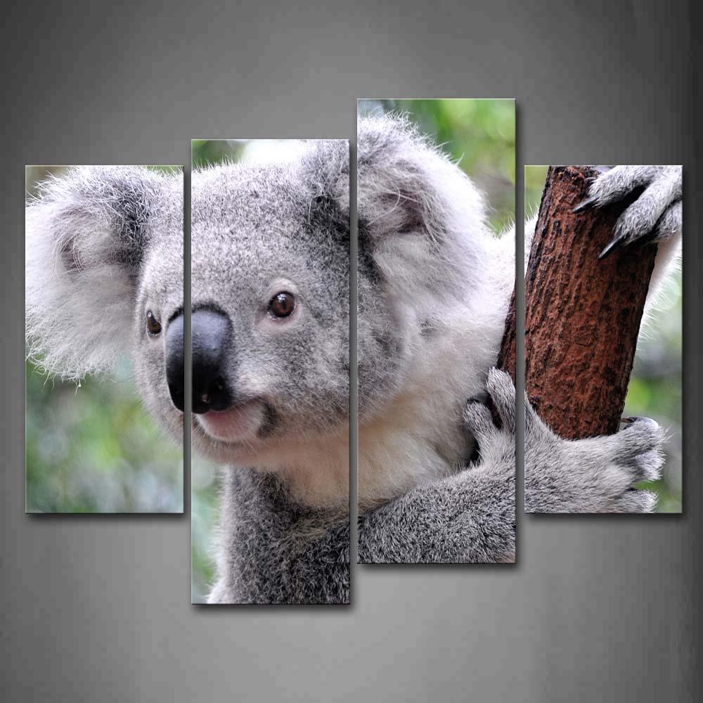 Encadrée mur Art photos Koala bâton arbre toile impression Animal moderne affiche avec cadre en bois pour la maison salon décor
