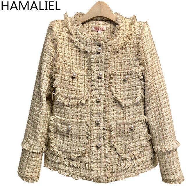 HAMALIEL New 2018 Autumn Winter Tweed Warm Coat Runway Gold Plaid Tassel Single Breasted Pearls Pocket Luxury Runway Jacket Coat