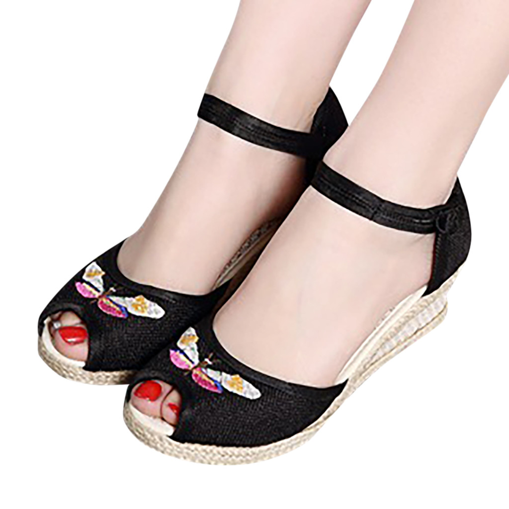Sandals Shoes Wedge Round-Toe Fish-Mouth Women Ladies Retro Linen Embroidery Canvas Singles