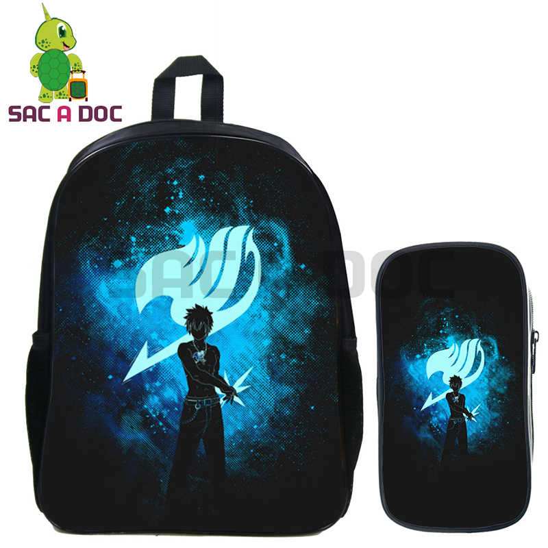 d1c88ee7f046 Anime Fairy Tail 2 Pcs set Backpack Natsu Gray Erza Shadow School Bags for  Teenage