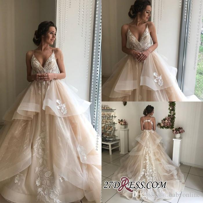 Keyhole Wedding Gowns: Champagne Tulle Ruched Skirt Wedding Dresses 2019 Keyhole