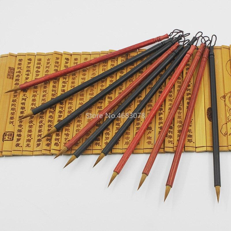 2Pcs Weasel Hair Chinese Writing Pen Red/black Sandalwood Calligraphy Brush Small Regular Script Bursh For Art Drawing Supplies