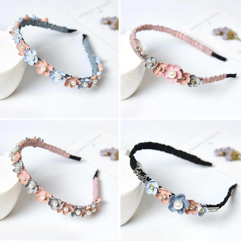 Korean Flower Headband For Girls Rhinestone Crown Hairbands High Quality Women & Girls Hair Accessories Party Handmade Jewelry