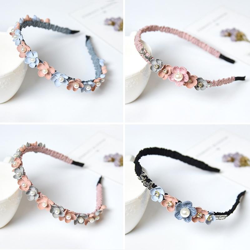 Korean Flower Headband For Girls Rhinestone Crown Hairbands High Quality Women & Girls Hair Accessories Party Handmade Jewelry