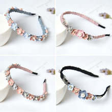 Korean Flower Headband For Girls Rhinestone Crown Hairbands High Quality Women & Girls Hair Accessories Party Handmade Jewelry(China)