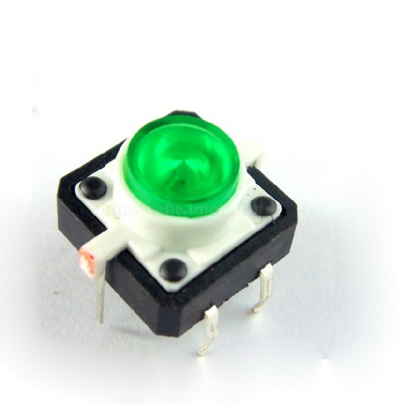 Illuminated Tact Switch 12 12 Green Led Small 4 Pin Reset