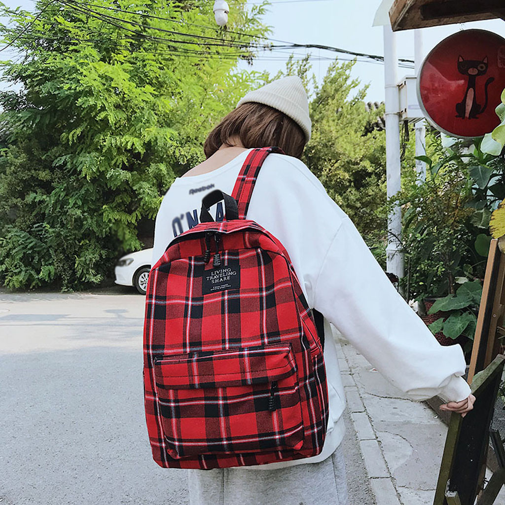 Women <font><b>Backpack</b></font> School Bags New Bag Female Student College Wind Bag Yellow Plaid Canvas Femme Mochila Female <font><b>Backpack</b></font> Travel Bag image