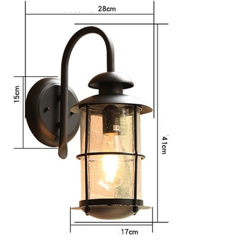 HAWBOIRR LED European style simple outdoor villa balcony waterproof rust retro corridor lights residential street wall lamp in Outdoor Wall Lamps from Lights Lighting