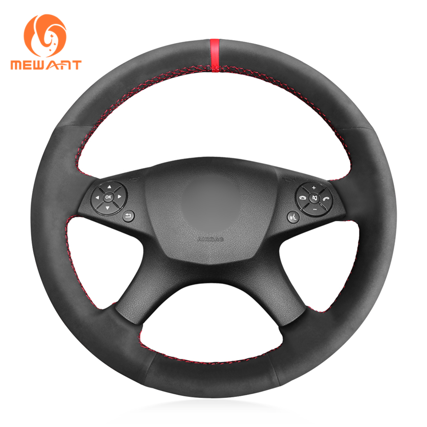 MEWANT Black Synthetic Suede Car Steering Wheel Cover for Mercedes Benz W204 C-Class 2007-2010 C280 C230 C180 C260 C200 C300