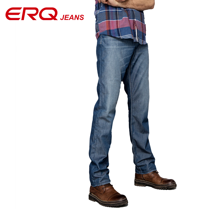 ERQ men's fashion solid mid waist Tencel skinny jeans men straight legged full length shaping  comfort mens jeans 902039 hee grand 2017 british style plus size men solid jeans full length straight mid waist comfortable male jeans mkn858