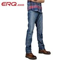 Tencel ERQ moda męska solidna mid waist skinny jeans men proste nogami pełnej długości kształtowania komfort męskie jeansy 902039