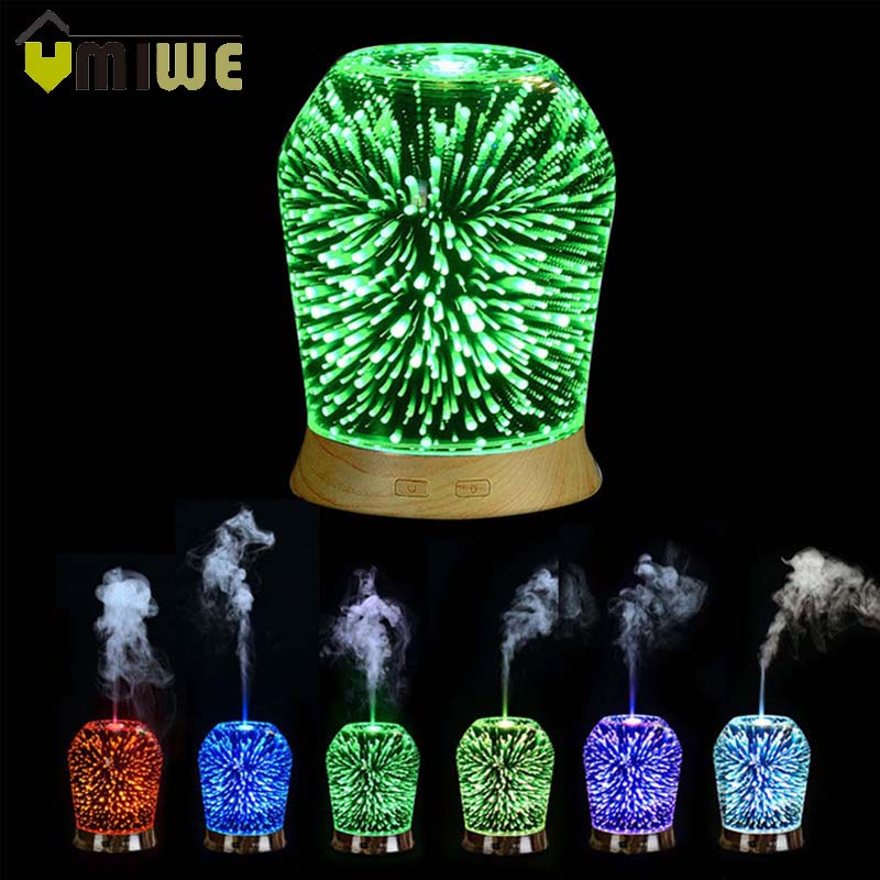 3D Glass Galaxy Air Humidifier Ultrasonic Essential Oil Diffuser Aromatherapy Humidifier with Colorful LED Night Lights Gift недорого