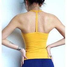 CretKoav kadınlar Yoga spor yelek kolsuz çabuk kuruyan koşu Tank Top spor Yoga bluzu spor kaşkorse sökme göğüs pedi