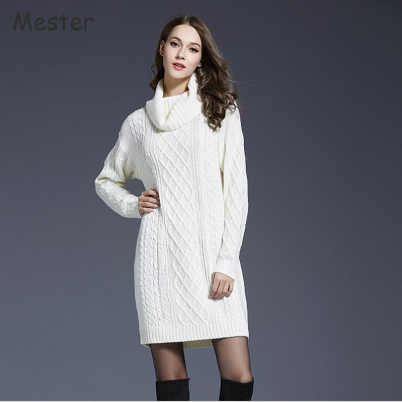 2017 European Style Women Turtleneck Sweater Dress Vintage Diamond Argyle Twist Knitted Loose Long Sweater Pullovers Plus Size