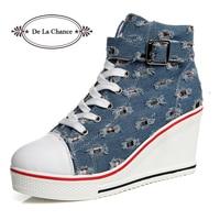 De La Chance Women Wedge Causal Shoes Woman Breathable Platform Denim Canvas Shoes Hidden Wedge Shoe