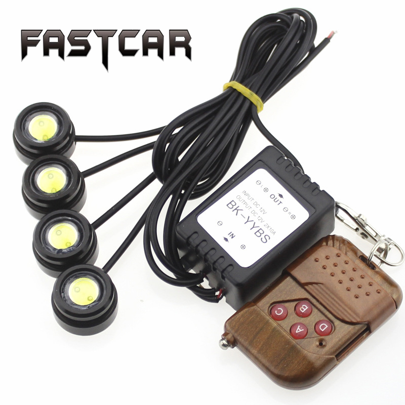 Four in One 4 LED Eagle Eye Car Fog Strobe Flash Warning Light DRL Daytime Running Lights with Remote Control Waterproof 4X1.5w