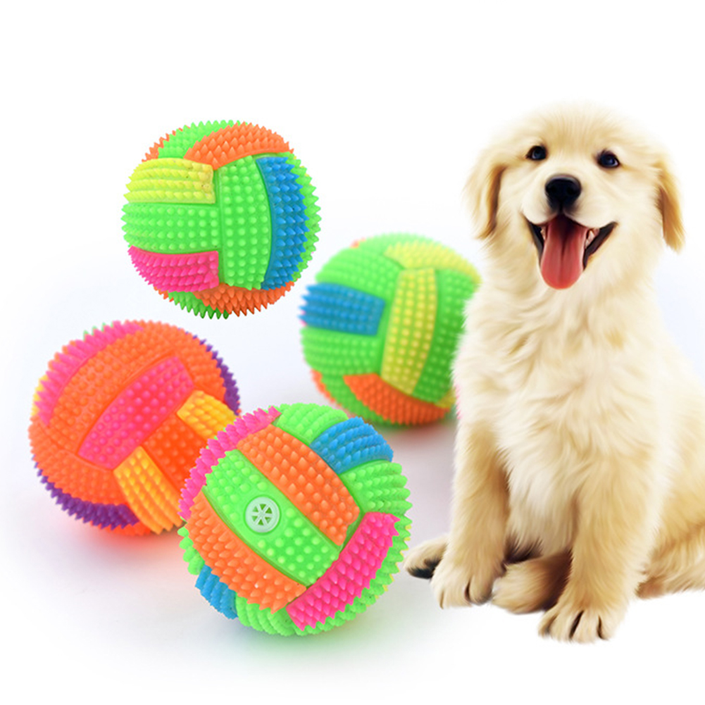 Pet Dogs Interactive Toy Chew Teeth Ball Clean Outdoor Traning Fun Playing Flashing Football Light Sound Bouncy Ball Pet Supply