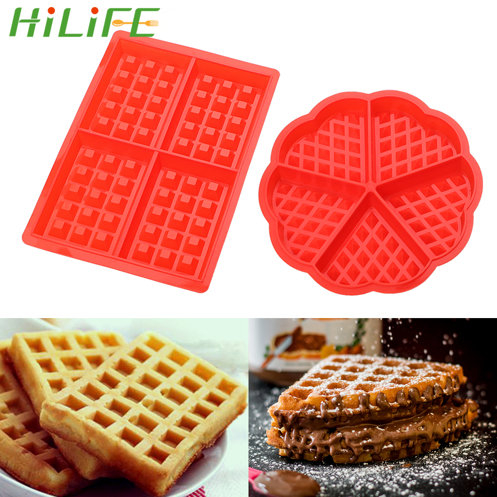 HILIFE High-temperature Baking Heart Shape Silicone Waffle Mold Cake Mould Non-stick Kitchen Bakeware
